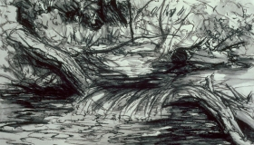 Study for River in Mountains