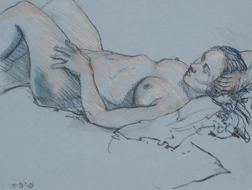Reclining Figure on Blue