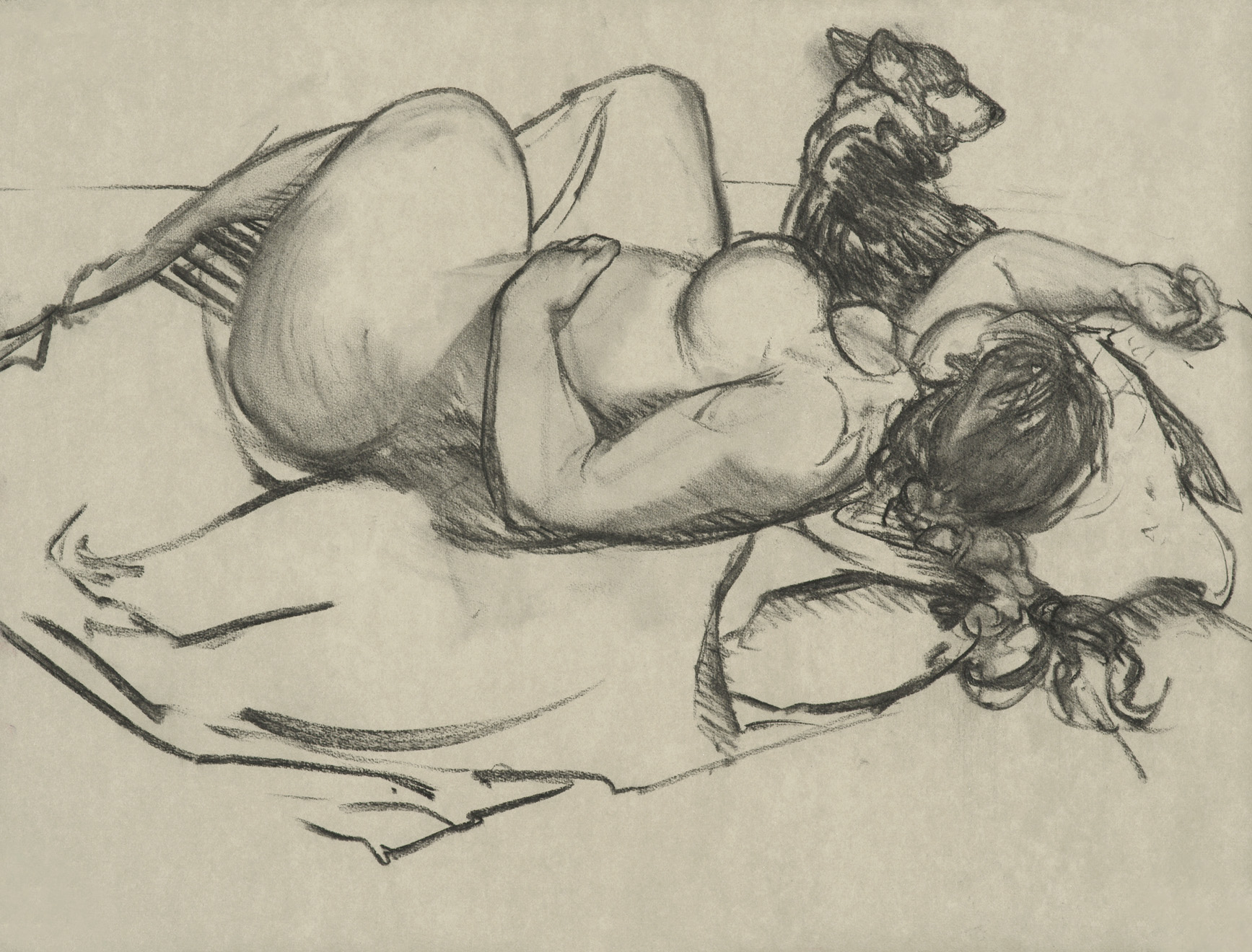 Reclining Figure with Corgie